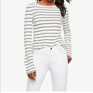 Ann Taylor off white & black striped sweater.